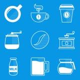 Blueprint icon set. Coffee Royalty Free Stock Images