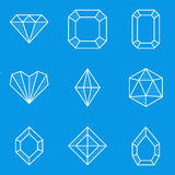 Blueprint icon set. Diamond Royalty Free Stock Photography