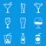 Blueprint icon set. Drink. Cocktail Royalty Free Stock Image