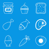 Blueprint icon set. Food. Vector illustration in eps10 Royalty Free Stock Image