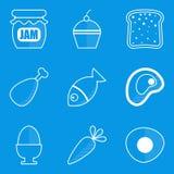 Blueprint icon set. Food Royalty Free Stock Image