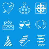 Blueprint icon set. Holiday. Love Stock Image