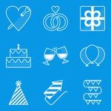 Blueprint icon set. Holiday. Love Stock Image