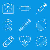 Blueprint icon set. Medical Stock Image