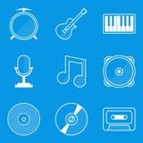 Blueprint icon set. Music Royalty Free Stock Photo