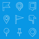 Blueprint icon set. Push pin map Stock Photography