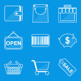 Blueprint icon set. Shop. Vector illustration in eps10 Royalty Free Stock Image