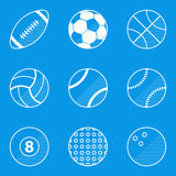 Blueprint icon set. Sport ball Stock Image