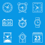 Blueprint icon set. Time. Clock Stock Photo