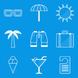 Blueprint icon set. Travel Royalty Free Stock Images