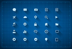 Blueprint icon set Royalty Free Stock Photos