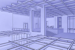 Blueprint interior Royalty Free Stock Image