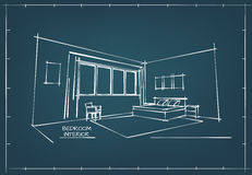 Blueprint Interior Drawing Stock Photo