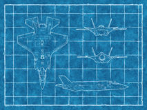Blueprint of a jet aircraft with four views. 3d rendering Stock Photo