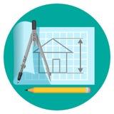 Blueprint l'icône avec le projet de la maison, des boussoles et du crayon Photo libre de droits