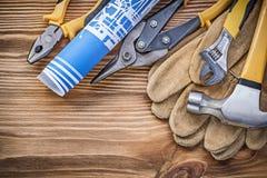 Blueprint la registrazione commovente dei colpi di forbici della latta delle tenaglie del martello da carpentiere dei guanti dell Immagine Stock Libera da Diritti