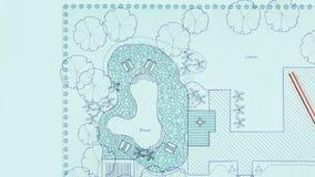 Blueprint landscape architect design backyard plan stock video footage