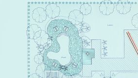 Blueprint landscape architect design backyard plan stock footage