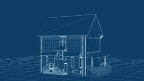 Blueprint le projet de maison tournant, boucle sans couture, longueur courante illustration libre de droits