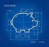 Project - blueprint scheme of piggy bank. Working sketch of money container in cute pig form with dimensions. stock photos