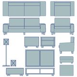 Blueprint living room furniture Royalty Free Stock Images