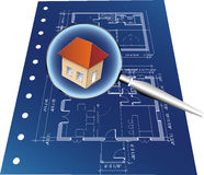 Blueprint with lupe Stock Image