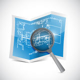 Blueprint and magnify illustration design Stock Images