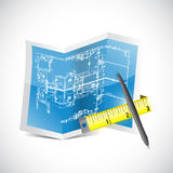 Blueprint and measuring tape illustration Stock Photography