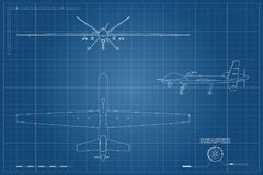 Blueprint of military drone in outline style. Top, front and side view. Army aircraft for intelligence and attack. Industrial drawing. Vector illustration vector illustration