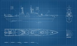 Blueprint of military ship. Top, front and side. View. Battleship model. Industrial drawing. Warship in outline style. Vector illustration Stock Images