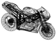 Blueprint motorcycle – 3D perspective Royalty Free Stock Photography
