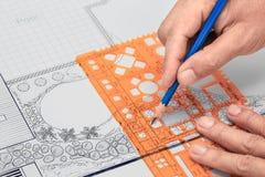 Blueprint o plano de desenvolvimento do jardim e da associação do quintal para a casa de campo Fotografia de Stock Royalty Free