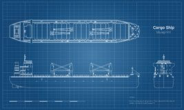 Free Blueprint Of Cargo Ship On White Background. Top, Side And Front View Of Tanker. Container Boat Industrial Drawing Royalty Free Stock Photo - 125823295