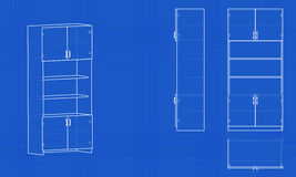 Blueprint office cabinet. Blue background with grid. Vector illustration Stock Photos