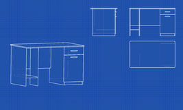 Blueprint office table Stock Photography