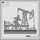 Blueprint of oil pump vector illustration