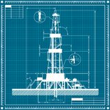 Blueprint of Oil rig silhouette Stock Photography