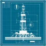 Blueprint of Oil rig silhouette vector illustration