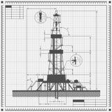 Blueprint of Oil rig silhouette stock illustration