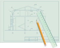 Blueprint Page with Draft, Pencil and Ruler. Including Vector stock illustration