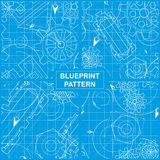 Blueprint Pattern. Set of Four Blueprint Patterns with Gears Stock Photography