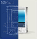 Blueprint PDA Device Royalty Free Stock Photo
