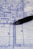 Blueprint and Pen. Blueprint with part of a pen Stock Photos