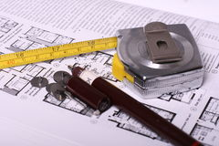 Blueprint,pen and measure-tape Royalty Free Stock Photo
