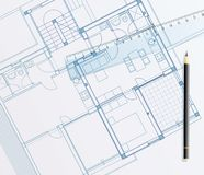 Blueprint pencil. Vector realistic illustration of the blueprint with ruler Stock Photo
