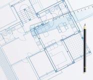 Blueprint pencil royalty free illustration
