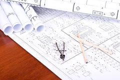 Blueprint, pencil and caliper Royalty Free Stock Photo