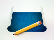 Blueprint and pencil vector illustration Stock Photo