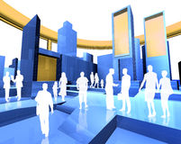 Blueprint and people. 3D image of the city and people Stock Images