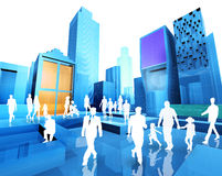 Blueprint and people. 3D image of the city and people Royalty Free Stock Image